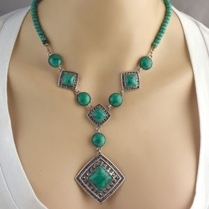 Faux Green Turquoise Necklace & Earring Set
